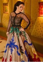 Wholesale colorful evening gowns - 2017 Colorful A-Line Evening Dresses with Jewel Neckline Long Illusion Sleeves Appliques Beadeds Lace Diana Haddad Dubai Party Prom Gowns