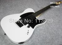 guitarra blanca para la venta al por mayor-FIRMA JIM ROOT FIRMAS de artista Guitarra eléctrica blanca Tele Pastillas EMG Cuello de arce, Diapasón de palisandro, Puente de trémolo con bloqueo doble