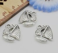 Wholesale Boat Slides - Free 150Pcs Antique Silver boat Charms Pendant For Jewelry Making 16x12mm