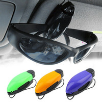 Wholesale car eye visor resale online - Car Glasses Holder Auto Vehicle Visor Sunglass Eye Glasses Business Bank Card Ticket Holder Clip Support Color Random hot sale