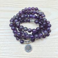 Wholesale Wrap Bracelet Natural Stones - SN1147 Amethyst 108 Mala Om Buddha Bracelet or Necklace Reiki Charged Buddhist Rosary Yoga Bracelet 4 Wrap Natural Stone Bracelet