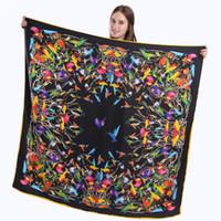 Wholesale Scarves Birds - 130cm*130cm New High-quality 100%Twill Silk Women Scarf Birds Printing Square Scarves&Fashion Wraps Spain Hijab Female Nckerchief