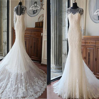 Wholesale Inexpensive Long Sleeve Dresses - Inexpensive High Quality Custom Long Sleeve Sexy Mermaid White Lace Beaded Bridal Gown Wedding Party Dresses 2017