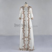 Wholesale long kaftans - 2017 Dubai A-Line Prom Dresses With Jewel Neck 3 4 Long Sleeves Floor Length Kaftans Beadeds Appliques Middle East Real Images Evening Gowns