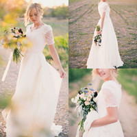 Wholesale Size 16 Informal Wedding Dress - 2017 Short Sleeves Lace Informal Modest Wedding Dresses V Neck Cheap Simple Wedding Party Informal Bridal Gowns .