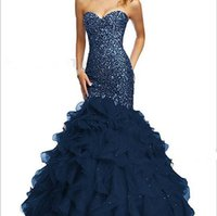 Wholesale Mermaid Sweetheart Organza Prom - Dazzling Navy Blue Crystal Mermaid Prom Dresses With Cascading Ruffles Sweetheart Neck Lace-up Back Cheap Bead Formal Dresses Evening Wear