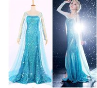 Wholesale 2016 Blue Bling Snow Queen Frozen Elsa Queen Princess Adult Women Evening Party Dress cosplay Costume Elsa Dresses