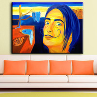 Wholesale modern abstract wall art oil painting for sale - ZZ1786 Modern Oil Painting Graffiti Salvador Dali Canvas Art Wall Pictures For Living Room Home Decor Printed Frameless