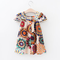 Wholesale Girls Denim Shorts Floral - kids dresses for girls Dress toddler flower girl dresses baby girl clothes princess clothing for party and wedding Bohemian