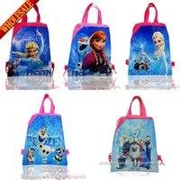 Wholesale Drawstring Backpack Bag Kids - 12pcs Elsa Anna Olaf Kids Cartoon Children Drawstring Backpack School Bags,Party Gift Bags,34*27cm,Free Shipping
