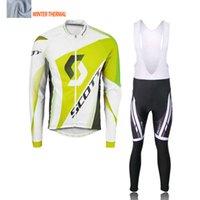 Wholesale Cycling Jersey White Pants Long - 2016 winter cycle jersey long sleeve Pro cycling jersey  bib long pants winter warm bike yellow green white