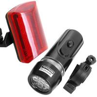 bicicleta linterna luz delantera al por mayor-Luces de bicicleta impermeable de la bici 5 LED Luz de la cabeza delantera + Linterna trasera Luz roja Bicicleta LED Antorcha
