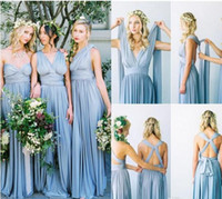 Wholesale Cheap Garden Lighting - 2016 Convertible Styles Chiffon Bridesmaid Dresses Cheap Long Country Style Beach Garden Wedding Party Maid Of Honor Gowns Formal Dresses