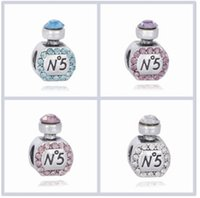 Wholesale Scented Crystals - Fit Pandora Charm Bracelet Scent Bottle CZ Crystal European Silver Bead Charms Beads DIY Snake Chain For Women Bangle & Necklace Jewelry