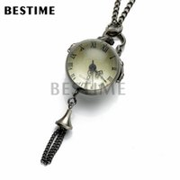 Wholesale Ball Watch Steampunk - BESTIME Watch Ball Glass Quartz Movement Antique Black Steampunk Pocket Watch Pendant Necklace Chain Roman Numerals