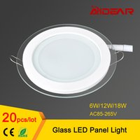 Wholesale AC85 V LED Panel Downlight round Glass Panel Lights W W W High Brightness Ceiling Recessed Lamps For Home