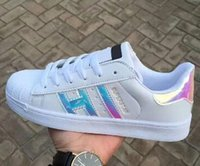 Wholesale Bright Cotton Fabric - Classic style Sport women casual shoes shoe lace up women men flats Bright laser shoes Size 36-44