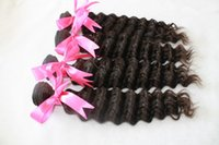 Wholesale Mixed Blend Weaves - Unprocessed Malaysian Deep Wave Curly Not Blended Hair But Human Hair Human Hair Weave hair extension 4pcs 50g