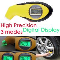 luzes do pneu auto venda por atacado-5.0-100PSI LCD Pneu Digital Medidor De Pressão De Ar Do Pneu Tester Luz Da Noite Ferramenta Para Auto Carro Motocicleta PSI, KPA, BAR
