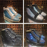 Wholesale green crystal shoes - Brand High Quality High Top Red Bottom Sneaker Shoe Man Casual Woman's Fashion Gold Blue Crystal Outdoors Shoes Cheap Sneaker Size 35-46