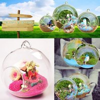 Wholesale Glass Hydroponic Pots - Clear Round Hanging Glass Vase Bottle Terrarium Hydroponic Planter Pot Flower DIY Home Table Wedding Decor