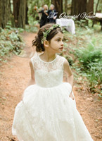 Wholesale Cheap Summer Dress Little Girl - 2017 Ivory Lace Beach Flower Girls Dresses For Wedding Cheap Summer Style Boho Little Girl Dresses Jewel Zipper Long Baby Kids Gowns