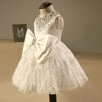 Wholesale Costume Made Wedding Dresses - Flower Girls' Dress Blush Lace Beads Costume Tiered Bow Ball Gown Little Girl Birthday Party Dresses KD050