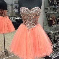 Wholesale peach cocktails - Sexy Short Homecoming Dresses Sweetheart Illusion Bodice Crystal Beaded Tulle Mini Coral Peach Cocktail Dresses Prom Dresses