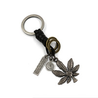 Wholesale Rings Canada - Classic Canada Maple Leaf Keychain Fashion Retro Genuine Leather Wrap Metal key Rings Creative Romantic Personality Jewelry For Men Women