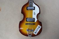 vintage baslar toptan satış-McCartney Hofner H500 / 1-CT Çağdaş Keman Deluxe Bas Vintage Sunburst Elektro Gitar Alev Akçaağaç Üst Geri 2 511B Zımba Manyetikler