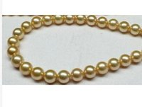 """Wholesale South Sea Pearls Singapore - 18""""AAA 8-9MM NATURA SOUTH SEA GENUINE GOLD PEARL NECKLACE PERFECT ROUND"""