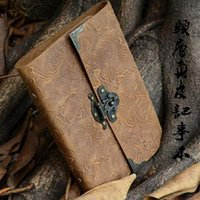 Wholesale Locked Diaries - 2016 new Wholesale-Silvermoon genuine leather loose leaf vintage cowhide diary with lock notepad notebook free shipping