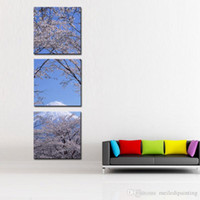 Wholesale Cherry Blossom Canvas Painting - Canvas Print Wall Art 3 panel Painting For Home Decor Peak Of Mount Fuji With Cherry Blossom Sakura In Blue Sky View From Lake Kawaguchiko