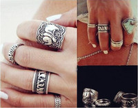 4Pc / Lot donne antiche zaino boho boho intagliato Totem Elephant antico argento placcato Mid Knuckle Mini Midi Anello