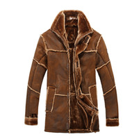 Wholesale Leather Jacket Wool Collar Men - Fall- winter Nordic style warm men's clothing man leather jacket with fur vintage long suede jacket coat the new arrival