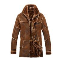 erkeklerin eski kürkleri toptan satış-Sonbahar-kış Nordic tarzı sıcak erkek giyim erkek deri ceket kürk ile vintage uzun süet ceket kat yeni varış