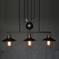 Wholesale Rope Pulleys - RH Lighting Retro Iron Pulley Pendant Light Loft American Vintage Industrial Pulley Rope Antique Edison Bulb Pendant Lamps Dining Room Bar