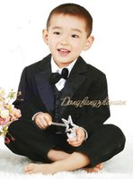 Wholesale Tuxedo Suits For Girls - Free shipping new kids tuxedo for boy suit child clothing boys flower girl dress vest style 5 pcs  set