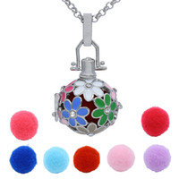 Wholesale Hollow Box Lockets - Daisy Flower Crystal Hollow Box Cage Locket Essential Oil Aromatherapy Diffuser Pendant Necklace + 7pcs Cotton Release Balls Charms Jewelry