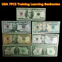 Wholesale 7PCS USA Dollars Movie Props Money Bank Staff Training Learning Banknotes Home Decoration Arts Collectible Gifts