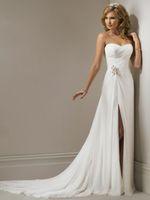 Discount vestidos wedding dress lace - Vestidos De Novia Chiffon Beach Ruched Wedding Dress Summer Front Slit Wedding Dress Robe De Mariage Bridal Gown In Stock