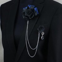 Wholesale Christmas Pins For Cheap - Price Cheap Luxury Rose Brooch lapel Pins Handmade for Gentlmen Suit Wear The chain tassel brooches Christmas Gift