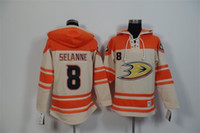 Wholesale Cheap Ripped Sweaters - Wholesale 2016 New 2015 Cheap Anaheim Ducks Mens Sweaters 8 Teemu Selanne Yellow Ice Hockey Jersey High quality Hoodies