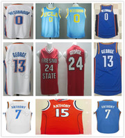 d2ef45501cf0 2017 2018 New Season  13 Paul George Jersey Blue White  7 Carmelo Anthony  College  0 Russell Westbrook Basketball Jerseys 100% Stitched