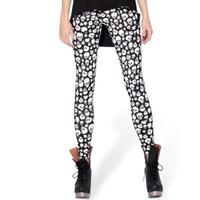 quality sport leggings toptan satış-Küçük kafatası pantolon Siyah beyaz scrawl sıkı Kalite kadın spor giyim Tayt spor giyim Spor eğitimi sportwear Egzersiz pantolon