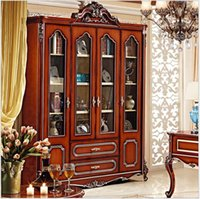 Wholesale Glazing Door - American style solid wood bookcase 1.8 meters combination of large bookcase colored glaze four door cabinet pfy4004