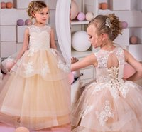 Wholesale Christmas Kids Gown Back - Spring Summer Flower Girls Dresses For Weddings Jewel Tiered Tulle Lace Appliques Girls Pageant Dress Open Back Lace Up Kids Birthday Gown