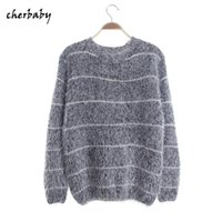Wholesale Maternity Knit Tops - Wholesale-2016 Women's Fashion Striped Pullover Crochet Sweater Casual Plus Size Tops Knitted Jumper For Handsome Maternity Sweaters