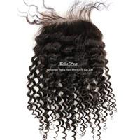 Wholesale Bresilien Hair - Curly Lace Closure malaisia Peruvian Indian bresilien couleur naturel 1 Piece cheveux extention livraison gratuit teindre possible