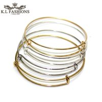 Wholesale Quality Guranteed Bracelets Bangles Jewelry DIY Silver Gold Tone Expandable Wire Bangle For Beading Or Charms